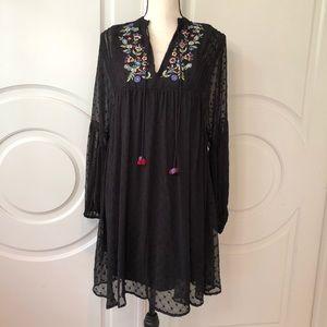 Zara Embroidered Dot Mesh Dress Boho Flowy
